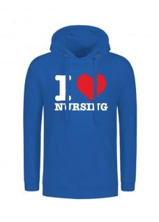 Hoodie I Love Nursing Blau