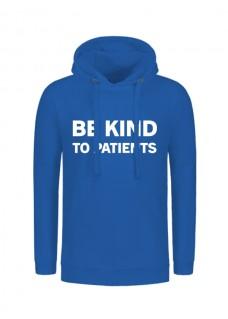 Hoodie Be Kind To Patients Blau