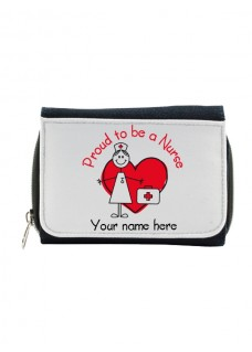 Damen Jeans Geldbörse Proud to be a Nurse mit Namensaufdruck