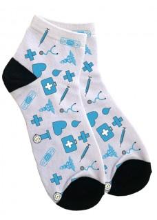 Knöchelsocken Damen Medizinische Symbole Blau