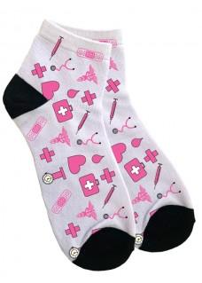 Knöchelsocken Damen Medizinische Symbole Rosa