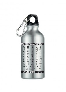 Trinkflasche Doctors Alphabet Silber