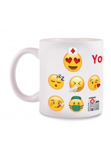 Tasse Emoji Nurse mit Namensaufdruck