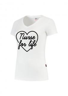 Damen T-Shirt Nurse For Life Weiß