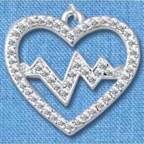 Kette Herzschlag Silber groß