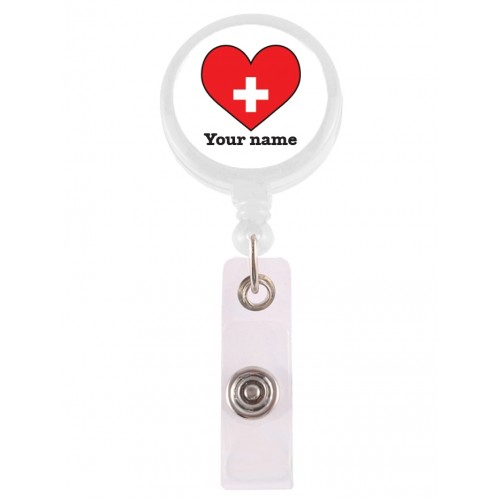 Ausweis-Jojo Rotes Herz mit Namensaufdruck