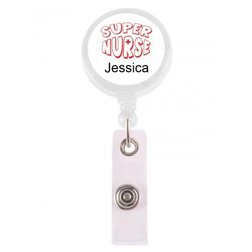 Ausweis-Jojo Super Nurse Rot mit Namensaufdruck